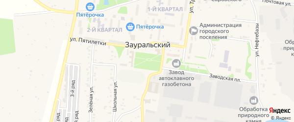 Улица Победы на карте Зауральского поселка Челябинской области с номерами домов
