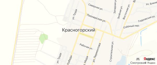 Карта Красногорского поселка в Челябинской области с улицами и номерами домов