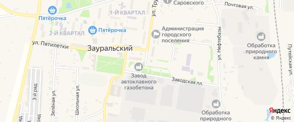 Линейный переулок на карте Зауральского поселка Челябинской области с номерами домов