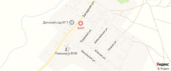Трудовая улица на карте деревни Водопойки Челябинской области с номерами домов