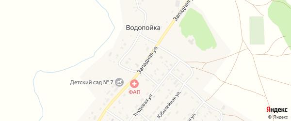 Западная улица на карте деревни Водопойки с номерами домов