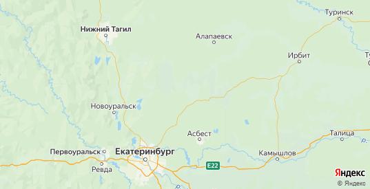 Карта Режевской района Свердловской области с городами и населенными пунктами