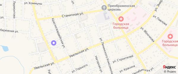 Нагорная улица на карте Южноуральска с номерами домов