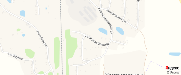 Улица Живая Защита на карте Зауральского поселка Челябинской области с номерами домов