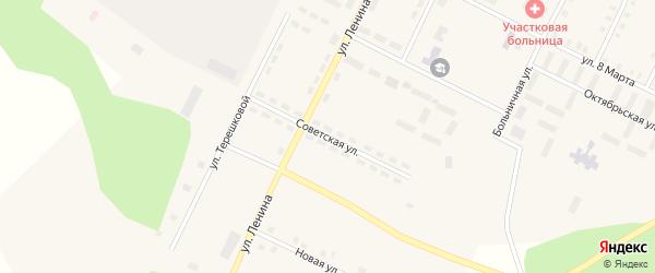 Советская улица на карте Берегового поселка с номерами домов