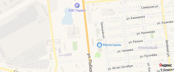 Улица Победы на карте Южноуральска с номерами домов