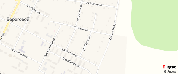 Улица Балхина на карте Берегового поселка с номерами домов