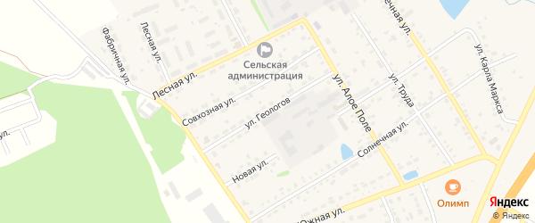 Улица Геологов на карте села Еманжелинки Челябинской области с номерами домов