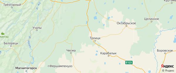 Карта Троицкого района Челябинской области с городами и населенными пунктами