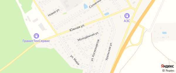 Молодежная улица на карте села Еманжелинки с номерами домов