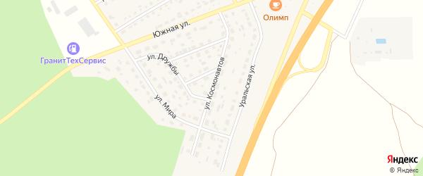 Улица Космонавтов на карте села Еманжелинки Челябинской области с номерами домов