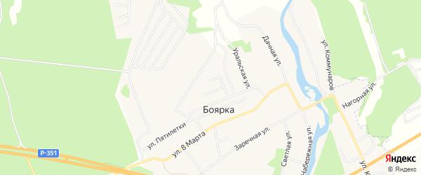 Карта деревни Боярки города Заречного в Свердловской области с улицами и номерами домов