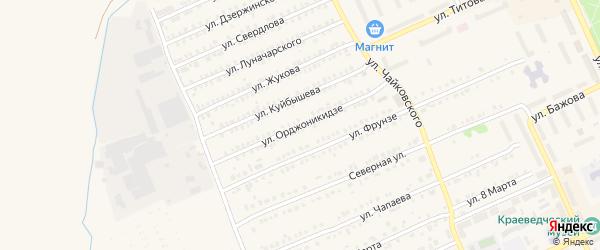 Улица Орджоникидзе на карте Еманжелинска с номерами домов