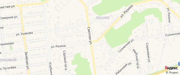 Светлая улица на карте Южноуральска с номерами домов