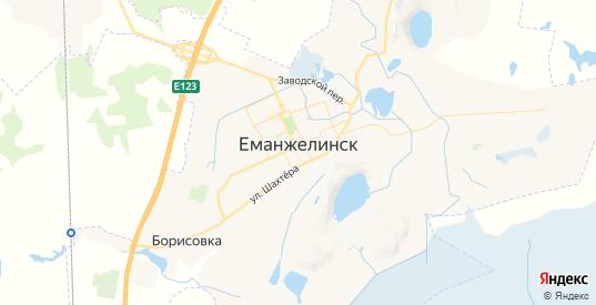 Карта Еманжелинска с улицами и домами подробная. Показать со спутника номера домов онлайн