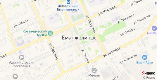 Промышленная площадка Восточная улица в Еманжелинске с номерами домов на карте. Спутник и схема онлайн
