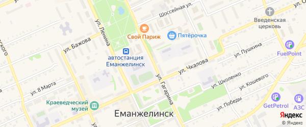 Улица Гагарина на карте Еманжелинска с номерами домов