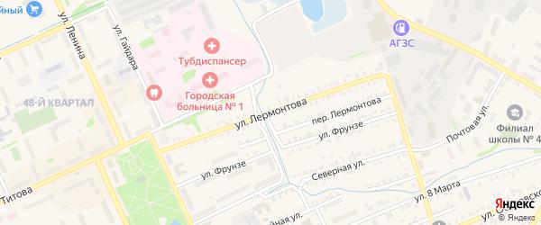 Улица Лермонтова на карте Еманжелинска с номерами домов