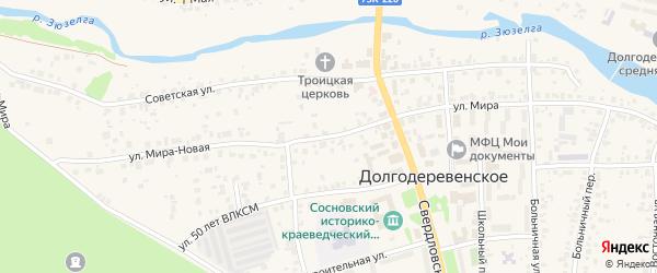 Улица Мира на карте Долгодеревенского села Челябинской области с номерами домов