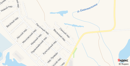 Сенной переулок в Еманжелинске с номерами домов на карте. Спутник и схема онлайн