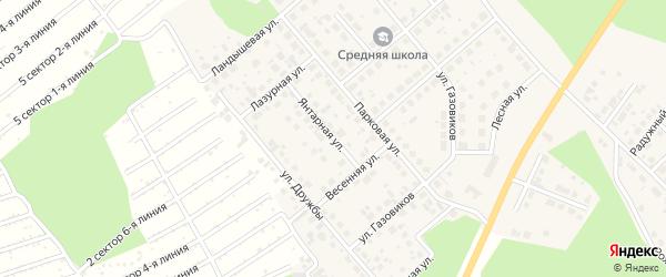 Янтарная улица на карте Долгодеревенского села с номерами домов