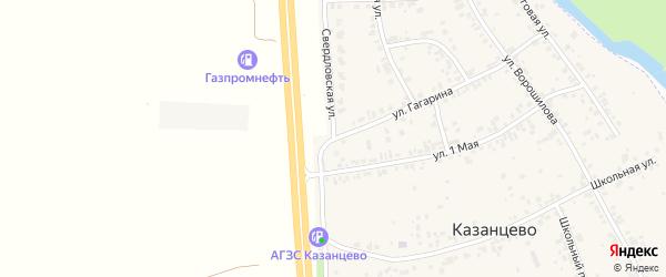 Свердловская улица на карте деревни Казанцево с номерами домов