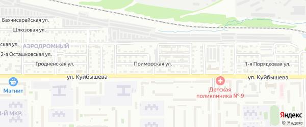 Приморская улица на карте Челябинска с номерами домов