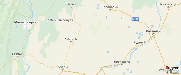 Карта Варненского района Челябинской области с городами и населенными пунктами