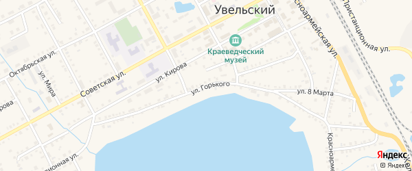 Улица Горького на карте Увельского поселка с номерами домов