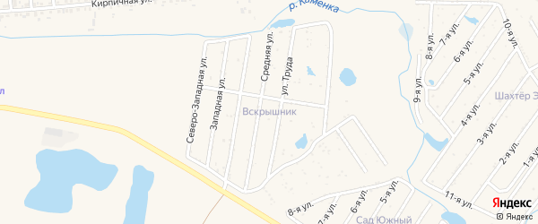 Юго-Восточная улица на карте садового товарищества Вскрышника с номерами домов