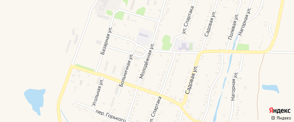 Молодежная улица на карте Еманжелинска с номерами домов