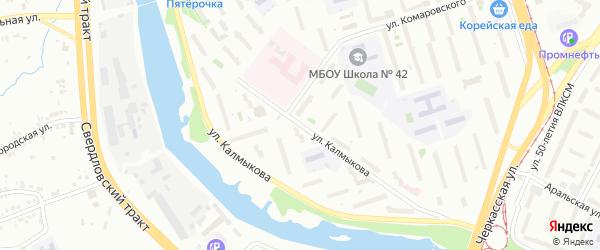 Улица Калмыкова на карте Челябинска с номерами домов