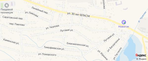 Луговая улица на карте Коркино с номерами домов