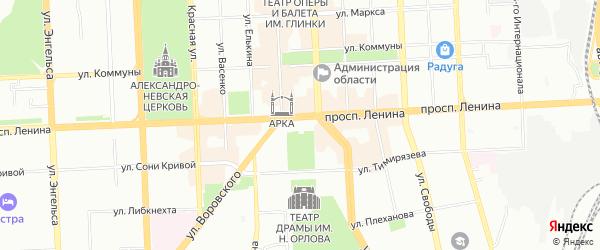 Территория ГСК 202 участок по пер. Красному на карте Челябинска с номерами домов