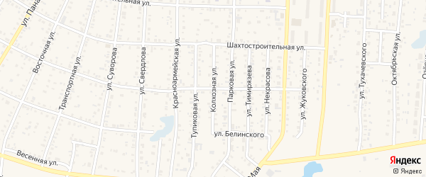 Колхозная улица на карте Коркино с номерами домов