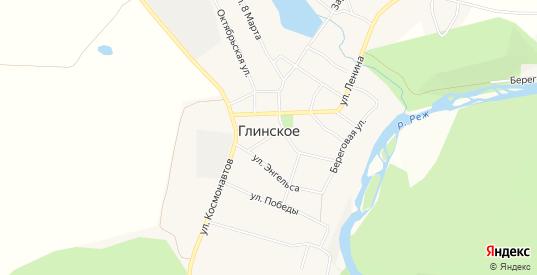 Карта села Глинское в Свердловской области с улицами, домами и почтовыми отделениями со спутника онлайн