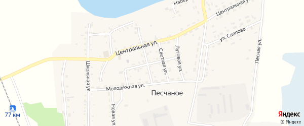 Советская улица на карте Песчаного села Челябинской области с номерами домов
