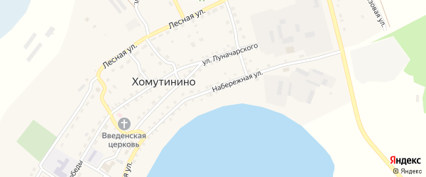 Набережная улица на карте села Хомутинино с номерами домов