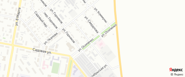 Улица Осипенко на карте Асбеста с номерами домов