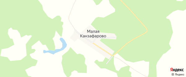 Карта деревни Малого Канзафарово в Челябинской области с улицами и номерами домов