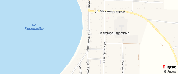 Набережная улица на карте села Александровки с номерами домов