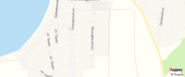 Молодежная улица на карте села Александровки с номерами домов