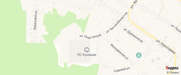 Территория Подстанция на карте села Кунашака с номерами домов
