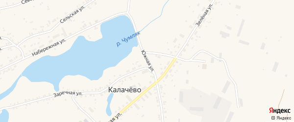 Южная улица на карте села Калачево с номерами домов
