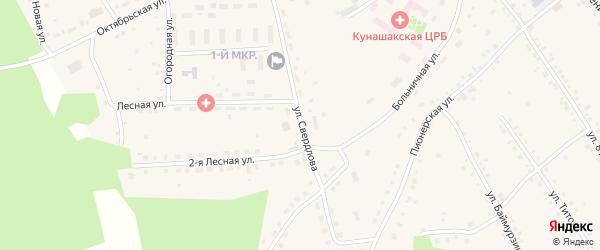 Улица Свердлова на карте села Кунашака Челябинской области с номерами домов