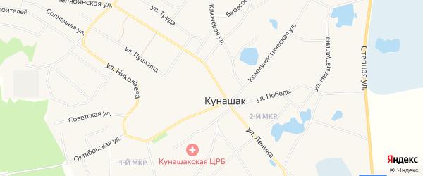 Карта села Кунашака в Челябинской области с улицами и номерами домов