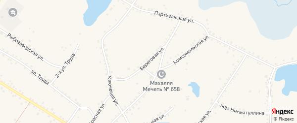 Береговая улица на карте села Кунашака с номерами домов