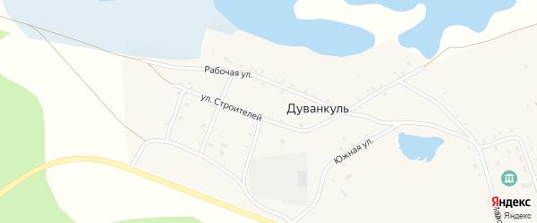 Луговая улица на карте села Дуванкуля Челябинской области с номерами домов
