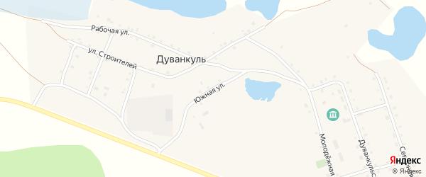 Южная улица на карте села Дуванкуля Челябинской области с номерами домов