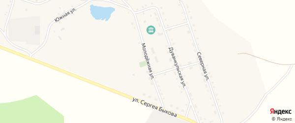 Молодежная улица на карте села Дуванкуля Челябинской области с номерами домов